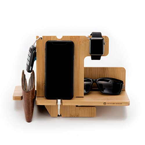 JackCubeDesign Bamboo iphone Apple Watch Charger dock Stand Multi Device Charging Station Organizer Holder for Smartphone Cellphone Mobile Wallet Glasses Key(Large) - MK242A from JackCubeDesign