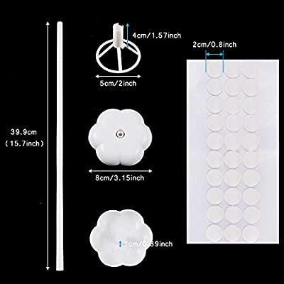 Caydo 12 Set Balloon Stick Stand Kit with 30 Pieces Double Sided Adhesive Dots, Flower Stand Base Support Holder for Wedding Birthday Any Party Balloon Accessories: Toys & Games