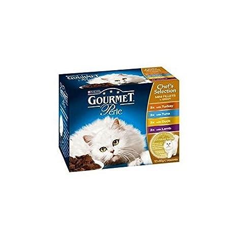 Gourmet Perle adultos gato Forro con recurvo, Atún, pato & Cordero 85 g 12
