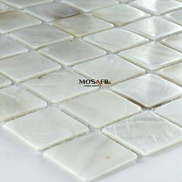 Glas Mosaik Fliesen Perlmutt Effekt Weiss 25x25x2mm Amazon De Baumarkt