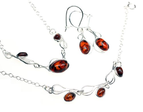 Amberbeata-Sterling-Silver-Genuine-Baltic-Amber-Oval-Shape-Set-Matching-Necklace-Bracelet-and-Earrings