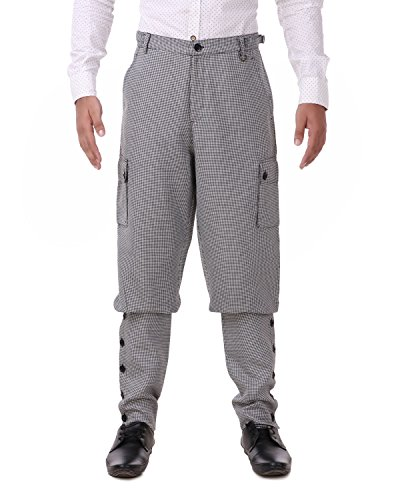 ThePirateDressing Steampunk Victorian Cosplay Costume Mens Airship 100% Cotton Pants Trousers C1348 (Black+ White Check (100% Cotton Fabric)) (Large)