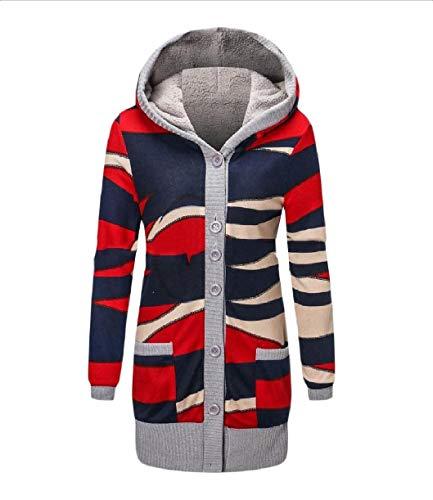 Winter Women Jacket Howme Cardigan Knit Hoode Blue Outwear Oversized Plush 6UOYwHaq