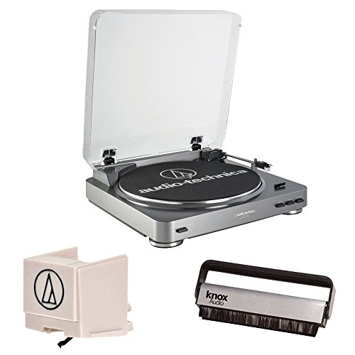 Audio-Technica AT-LP60 Fully Automatic Belt Driven Turntable w/Replacement Stylus and Vinyl Brush Cleaner