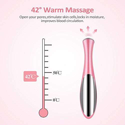 Eye Massager, Vibration 42℃ Heated Under Eye Massager Wand - Relieves Dark Circles Puffiness Eye Wrinkle Device by ZLiME (Image #3)