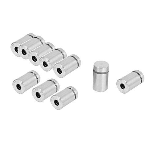 uxcell Stainless Steel Advertisement Screws Glass Standoff 12x23mm 10 Pcs