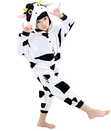Duraplast Girl's Sleep Bag Onesie Pajamas Animal Costume Hoodie Fleece Cow S (Cow Costume For Kids)