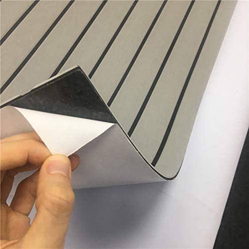 Light Grey with Black CHURERSHINING EVA Teak Decking Sheet for Boat Yacht Marine Flooring Mat with Bevel Edge Self Adhesive 94.5/×47.2