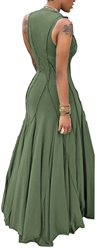 Maxi Bigyonger Sleeveless Dress Women's Pleated Slim Round Neck Green zawa6AqvY