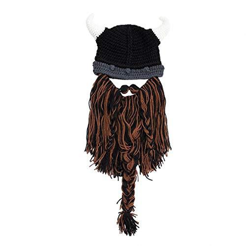 Tebapi Unisex Skullies Beanies Funny Handmade Women Men Wool Mustache Knitted Hats Face Mask Wig Beard Beanies Bonnet Caps Button Connected -