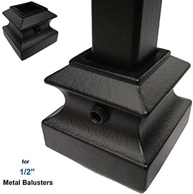 Balaustres para escalera (10 unidades) con juego de tornillos, zapatos planos (negro satinado) para balaustres de hierro de 1/2 pulgada: Amazon.es: Bricolaje y herramientas