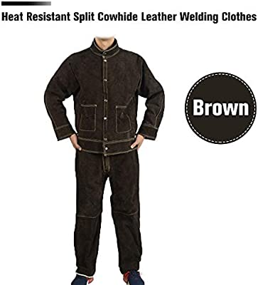 Welding Work Pants Cowhide Leather Safety Protective Welder Cloth Anti-scald