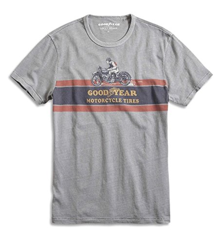 Lucky Brand - Men's - Gray Goodyear Motorcycle Tires 100% Cotton Logo T-Shirt (X-Large)