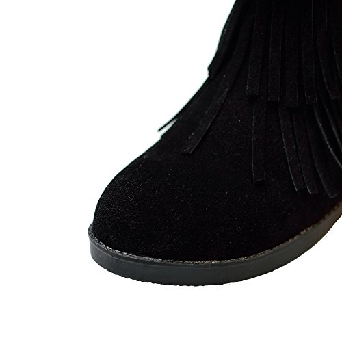 AllhqFashion Damen Niedriger Absatz Rein Rund Zehe Mattglasbirne Ziehen auf Stiefel Schwarz