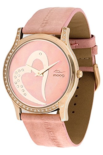 Moog Paris Sweet Love Women's Watch with Pink Dial, Pink Genuine Eel Leather Strap & Swarovski Elements - M44392-107