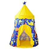 yuandao Kids Yurt, Sea Themed Kids Tent, Teepee Tent for Kids, Kids Playhouse for Indoor and Outdoor Games, 39'' x 57''(DxH)(Yellow&Blue)