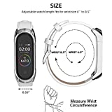 MIJOBS Compatible Xiaomi Mi Band 4, Genuine Leather Replacement Strap Breathable Wristband with Metal Frame Bracelet Accessories for Xiaomi Mi Band 3 Smart Watch Bracelet Wristband