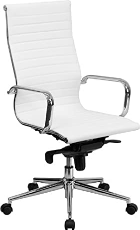 Flash Furniture High Back White Ribbed Leather Executive Swivel Chair with Knee-Tilt Control and Arms