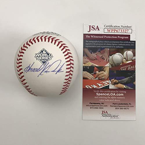 Autographed/Signed Howie Kendrick 2019 World Series Rawlings Official Major League Baseball ROML JSA COA