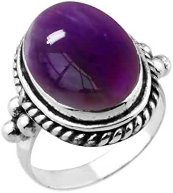 9.90ctw,Genuine Amethyst 12x16mm Oval & .925 Silver Overlay Handmade Rings Made By Sterling Silver Jewellery