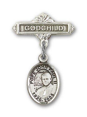 Icecarats Créatrice De Bijoux En Argent Sterling Pape Jean Paul II Charme Filleul Broche De Badge 1 X 5/8