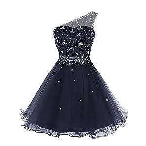 Bbonlinedress Women's Short Tulle Homecoming Dress One-Shoulder Beaded Cocktail Prom Party Dress Dark Navy 12