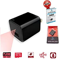 Invisible Gear Wall Charger Hidden Camera Built-In 32GB Memory 1080P with Motion Detection + FREE eBook Nanny Spy Camera Charger with Discreet Packaging