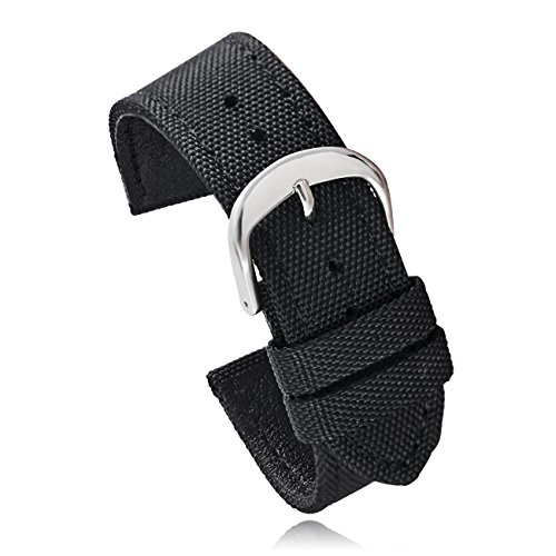 Carty Watch Band Nylon Canvas Calfskin Leather Watch Strap for Men Women 20mm Black -