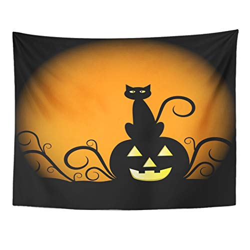 Tarolo Decor Wall Tapestry Orange Halloween Pumpkin and Cat Yellow Black Moon October Clipart Scary 60 x 50 Inches Wall Hanging Picnic for Bedroom Living Room Dorm -