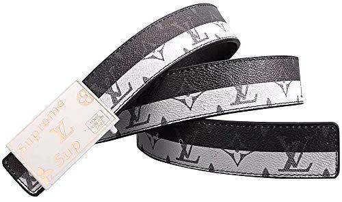 - Square White Metal Buckle Women Men Fashion Belt Casual (115cm Fit Waist 34