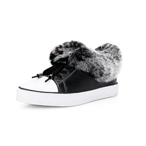 QPYC Botas de Chelsea Botas de cuero real de las mujeres Cabeza redonda Zapatos casuales de tacón plano con suelas de cuero negro , white , 34