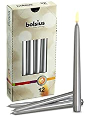 BOLSIUS Long Household Silver Taper Candles - 10-inch Unscented Premium Quality Wax - 7.5 Hour Long Burning Dripless Candles Bulk Pack of 12 for Home Decor, Wedding, Parties and Special Occasions