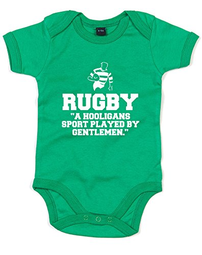 Brand88 Rugby,A Hooligans Sport Played by Gentlemen, Printed Baby Grow - Kelly Green/White 12-18 - Wiki Africa South