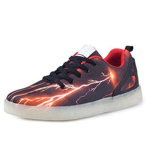 (Present:kleines Handtuch)JUNGLEST LED Leuchtende Sport Schuh Schuhe Sportschuhe Sneaker Turnschuhe 7 Farben USB Schwarz