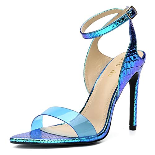 WSKEISP Womens Snakeskin Strappy Heels Open Toe Slingback D'Orsay Ankle Strap Stiletto Heeled Sandal Blue PVC Size 9