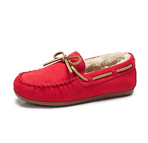 Camel Womens Moccasin Pile-Lined Slipper Driving Moccasin Casual Loafers Boat Shoes Red