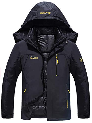 YXP Men's Double Layer Jacket Waterproof Puff Liner Winter Cotton Coat Black