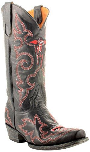 Gameday Boots Mens Läder Texas Tech Cowboystövlar Svart