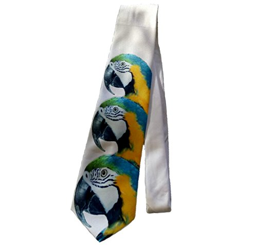 Blue-and-gold Macaw Parrot Birthday Party Men's Novelty White Tie Necktie