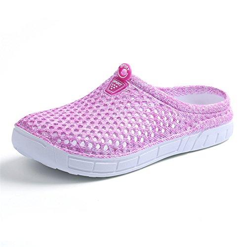 DANDANJIE Zuecos de jardín para mujeres Ligeras zapatillas de malla de secado rápido Sandalias de verano para caminar Zapatillas antideslizantes en la piscina de playa Rosado