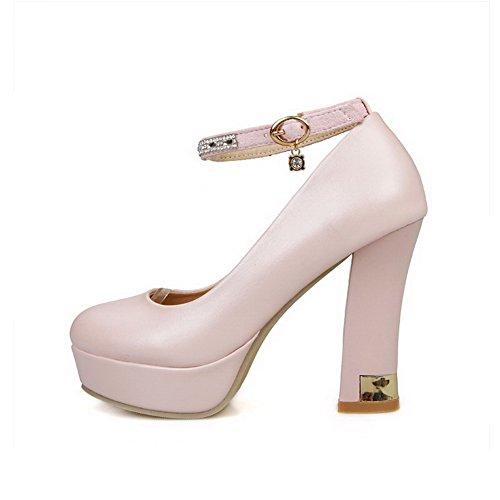 Amoonyfashion Femmes Talons Hauts Pu Solide Boucle Ronde Fermé Orteils Pompes-chaussures Rose