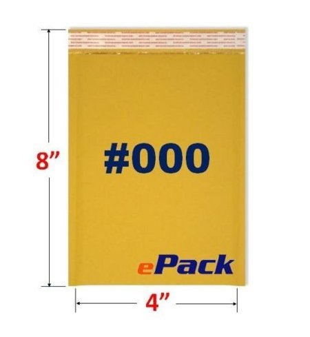 Discount (2-Pack) 25 #000 4x8 KRAFT BUBBLE MAILERS PADDED ENVELOPES 4 x 8 -- 50 Envelopes Total for sale