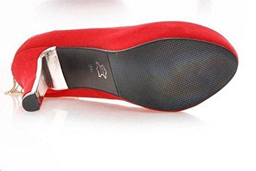 XIE della scarpe RED impermeabili red della di donna autunno diamante la con Ultra catena da scarpe e sposa 37 alto primavera Court tacco 40 BwqB4n0rv