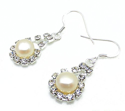 Bohemian Style Lady Gift Real Pearl Rice Shape Beads Fashion Earring Stud (White Rice Freshwater Pearl Beads)