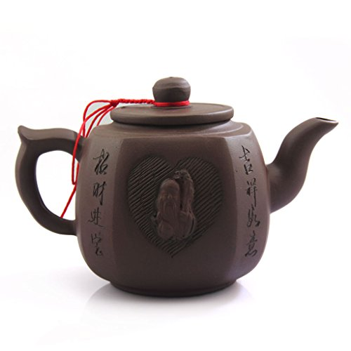 Yixing Clay - 500ml Chinese Yixing god of longevity Handmade Purple clay Pottery Zisha Teapot
