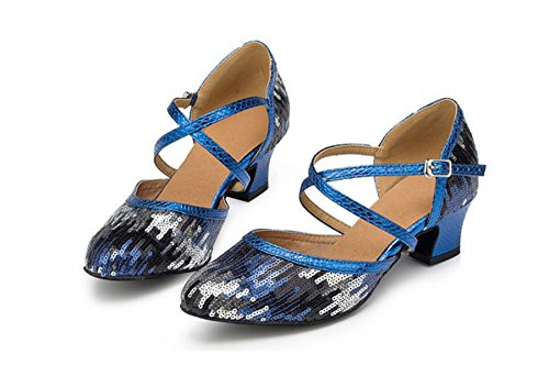 Salsa Tango Glitter Sequins Comfort Dance Blue Ankle Ballroom Womens Wedding Modern Strap Shoes TDA Latin 8wqpFRz