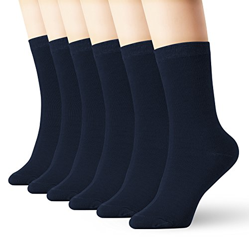6 Pack Navy Blue Thin Cotton Socks Lightweight High Ankle For Women Men