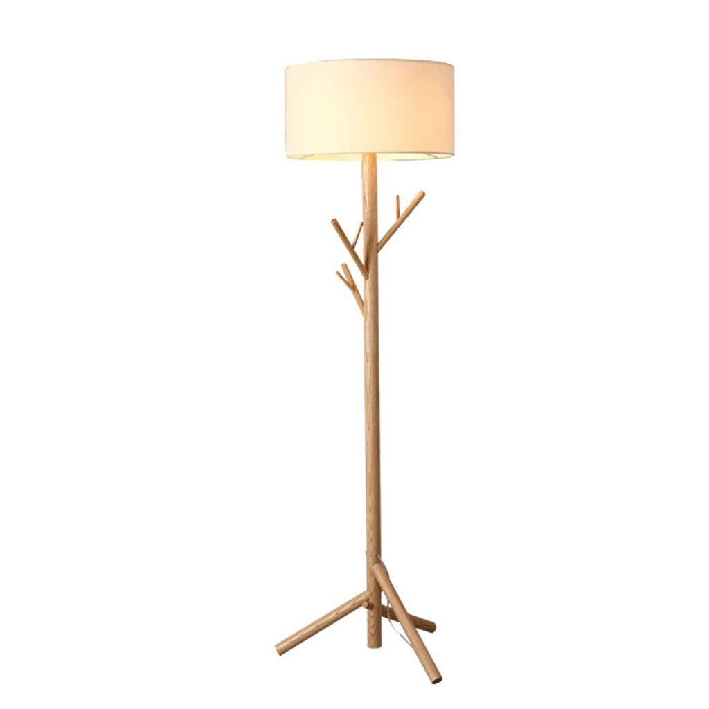 lámpara de pie de madera maciza nórdico Dormitorio de tela ...