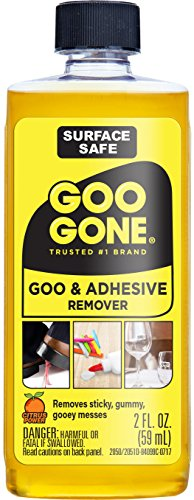 Goo Gone Original - 2 Ounce - Surface Safe Adhesive Remover Safely Removes Stickers Labels Decals Residue Tape Chewing Gum Grease Tar ()