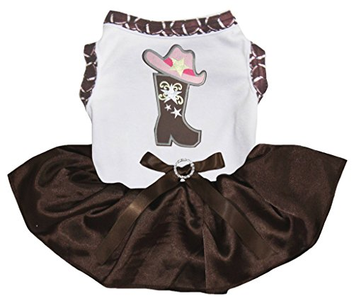 Petitebella Cowgirl Boot Hat White Shirt Brown Tutu Puppy Dog Dress (XX-Large, White)